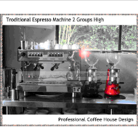 Commercial Electronic Espresso Machine With 2 High Groups