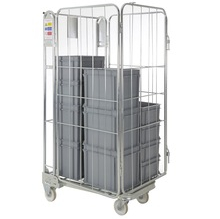 Collapsible wheeled laundry industrial trolley