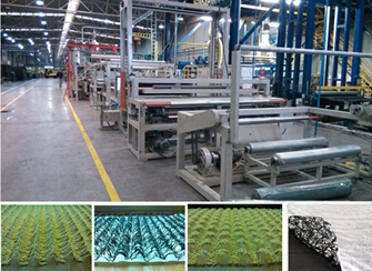Plastic drainage geocomposites production line, drainage composites machine
