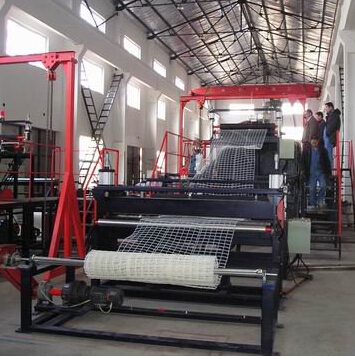 HDPE plastic rigid square net production line, net machine