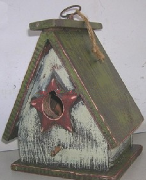 solid wooden bird house with painting