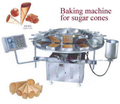 Baking machine for sugar cones