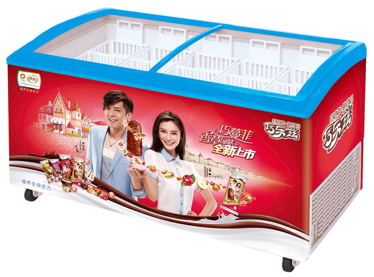 Изогнутый холодильник для мороженного  SD511