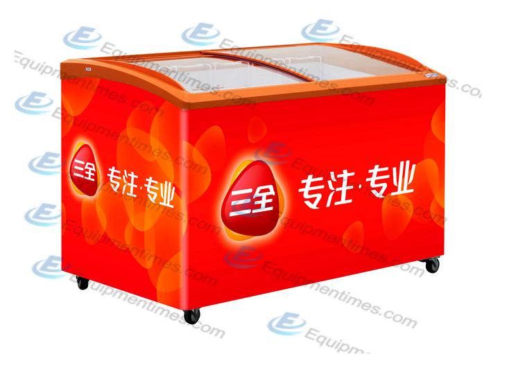 Изогнутый холодильник для мороженного со стальной крышкой SD575K