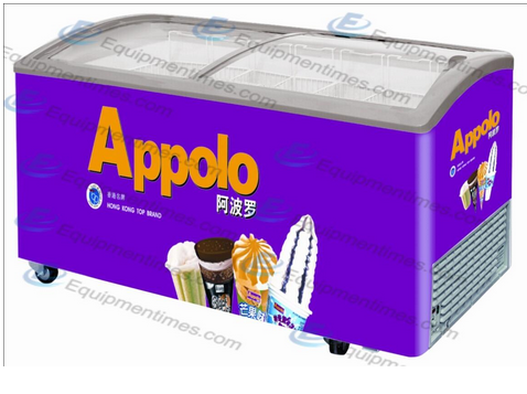 Изогнутый холодильник для мороженного со стальной крышкой SD-575