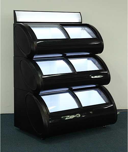 Three Layers Ice Cream Oval Display Cabinet, Curved Glass Door Display Freezer