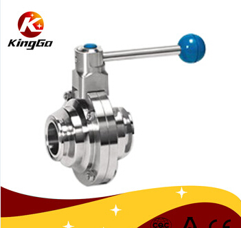 Stainless steel sanitary clamped butterfly type ball valve