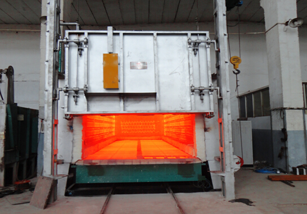 Natural gas bogie hearth furnace