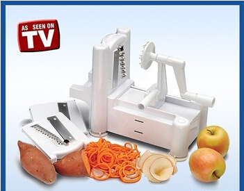 As Seen On TV Manual Vegetable Cutter Tri-blade Plastic Spiral Vegetable Slicer