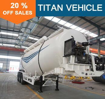 Titan Tri-Axle V Shaped 70CBM Dry Bulk Cement Transport Truck For Carrying Powder