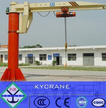 360 degree slewing 5 ton pillar jib crane with remote control electric hosi