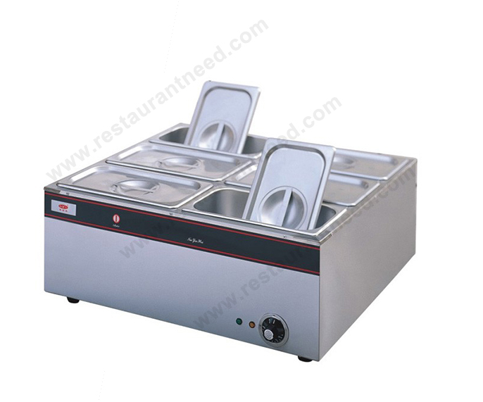 Counter top 6 pans buffet food warmer low energy consumption, good insulation suitable for Fast Food Restaurant