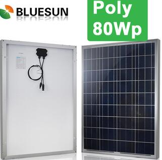 Bluesun High quality and best price 12v 80w solar charging kit