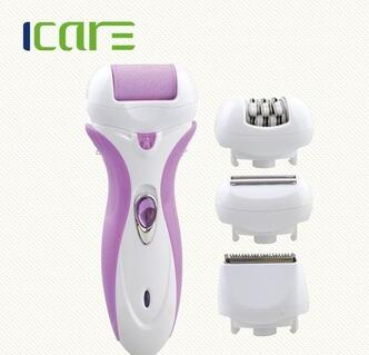 Rechargeable 4 in 1 lady' epilator set with 2 speeds for choice/foot callus remover