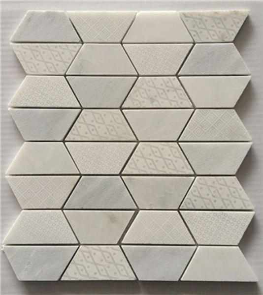 Oriental white hexagon texture mosaic tile