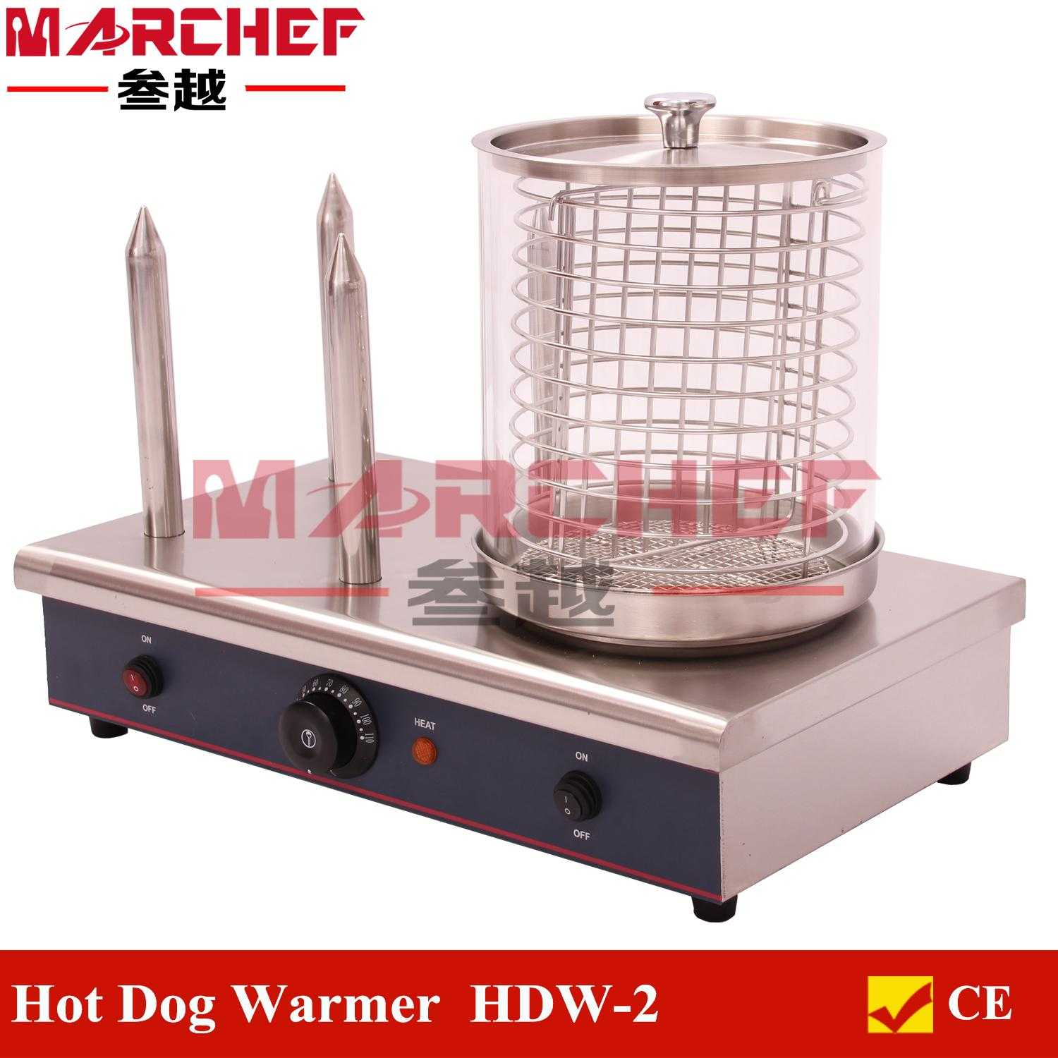 Hot dog with bread warmer