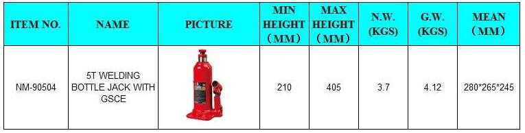 Use: Car Jack Type: Bottle Jack Capacity (Load): 1-10T Max Height: 405mm Min Height: 210mm Certification: ISO9001 Place of Origin: Zhejiang, China (Mainland) Brand Name: Xracing Model Number: NM-90504 Warranty: 1 Years Market: worldwide LOGO: as customized Packing: as customized Payment: TT L/C Sample: 7-10days Delivery time: 30-45days ODM/OEM: Yes Feature: fashion&durable