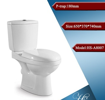 HS-A8007 Ceramic two piece big hole round toilet
