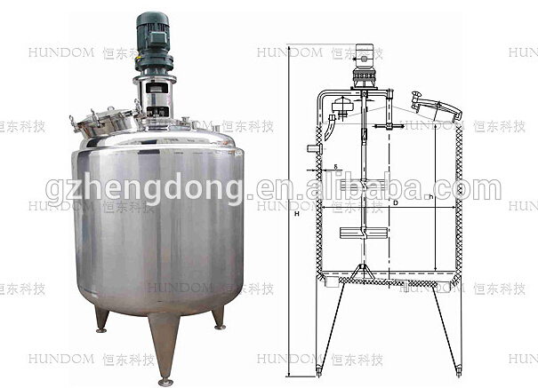 Stainless steel liquid mixing tank with top entry agitator