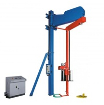 Rotary arm pallet stretch wrapper and pallet wrapping machine