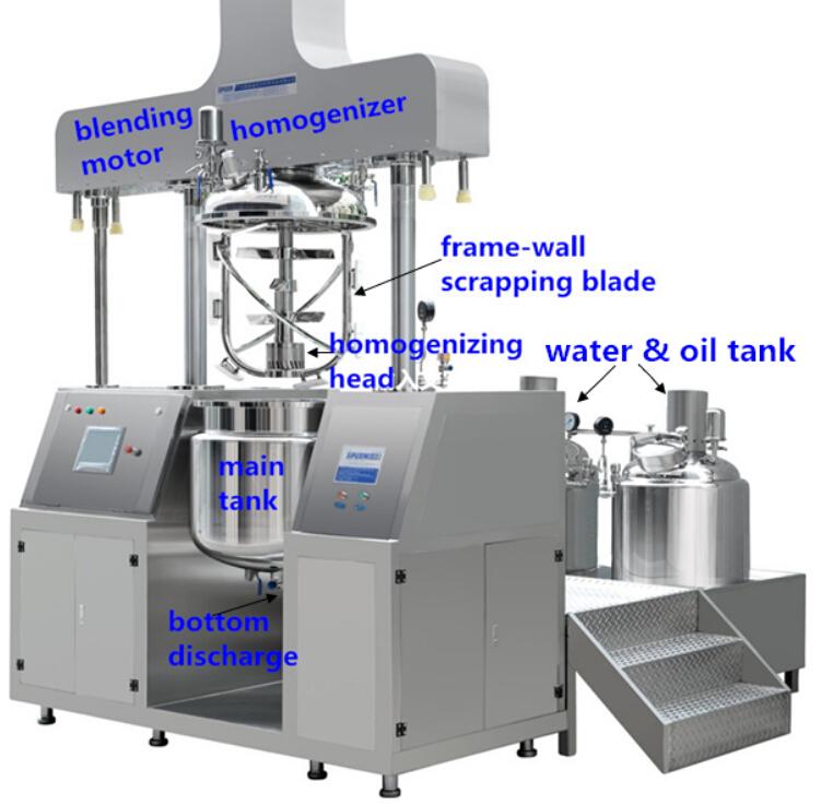 Facial cream vacuum mixer making machine
