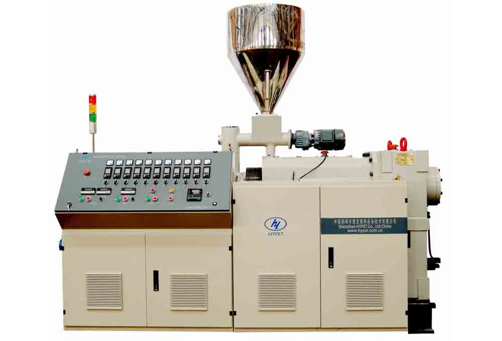 Conic twin screw extruder