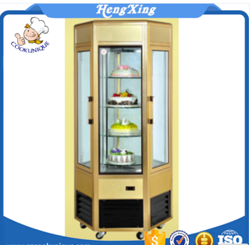 2017 New product Commercial cake refrigerator Six Sides Glass Showcase vertical cake display glass rotation cake