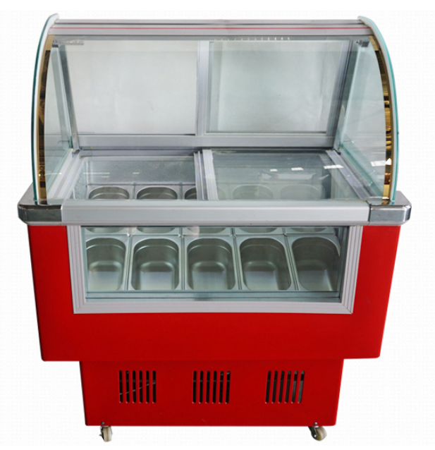 Big curved front glass ice porridge showcase