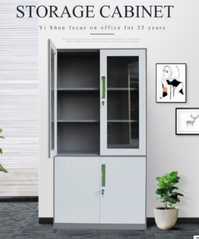 Profession office glass door steel storage cabinet/glass front storage cabinet