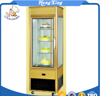 2017 New Product Commercial Electric 3 Sides Glass Showcase vertical cake display glass rotation cake showcase