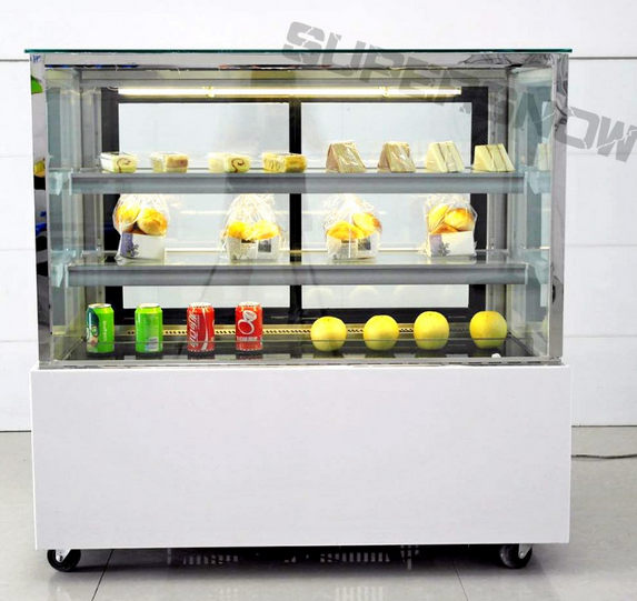 Convenience Store Front Right Angle Glass Refrigerated Chocolate Bakery Cake Display Cabinet