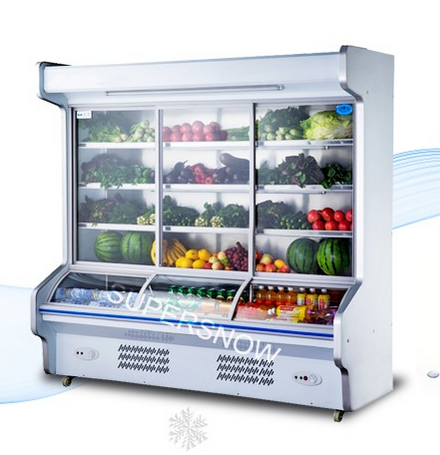 Upright Supermarket Used Showcase and Glasses Food display Refrigerated Showcase
