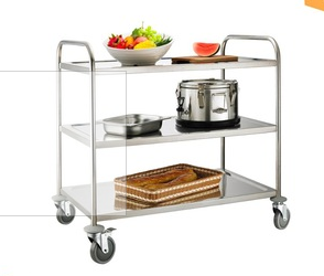 Heavybao Knocked-down Steel Lab Rolling Cart Drawers 3 Tier Trolley