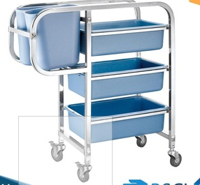 Heavybao Stainless Steel Knocked-down Hotel Cleaning Trolley