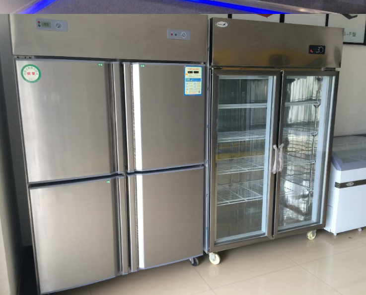 commercial restaurant stainless steel glass door kitchen freezer