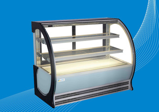 Commercial Glass Door 3 Shelves Glass Cake Showcase and Cake Display Freezer
