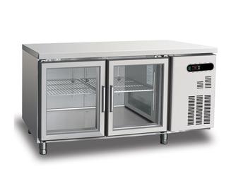Double glass transparent doors undercounter chest freezer for sale