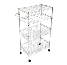 Restaurant storage wire trolley 4-Tier Rolling Steel Kitchen Trolley Cart Island Wire Rack Shelf Stand 2 Baskets