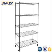 modern metal 5 layer houseware metallic wire shelf store with wheels