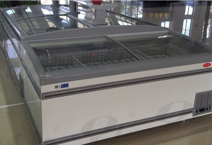 2017 hot sale island chest freezer with sliding glass door for supermarket