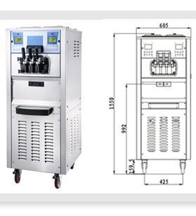Air Pump Buffet Restaurant 3 in 1 Big Capacity 110 Volt Soft Serve Ice Cream Machines