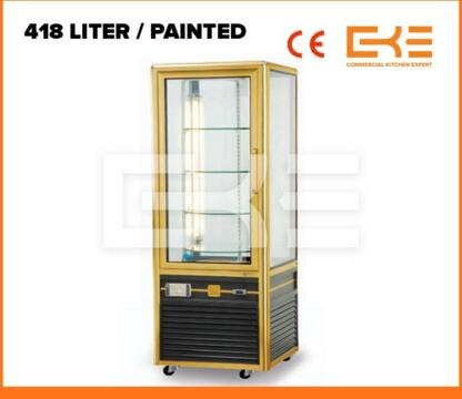 Painted Body Rotating Showcase Rotating Glass Showcase Electric Rotating Cake Display Case Cabinet