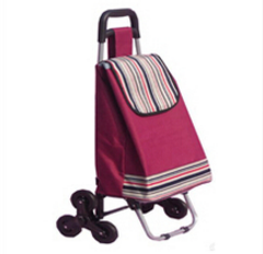 RH-FT02 Foldable Shopping Bags ployester oxford fabric 600D 420*300*920 Shopping Cart With six Wheels Folding Trolley