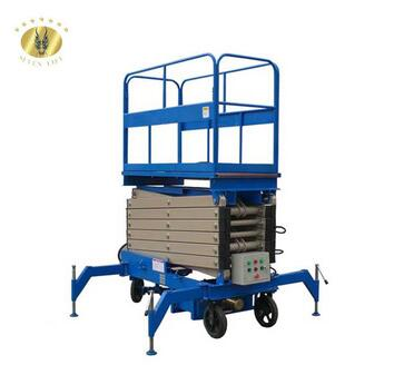 5m high raised hydraulic mobile electro scissor working open platform lifte table with handrail