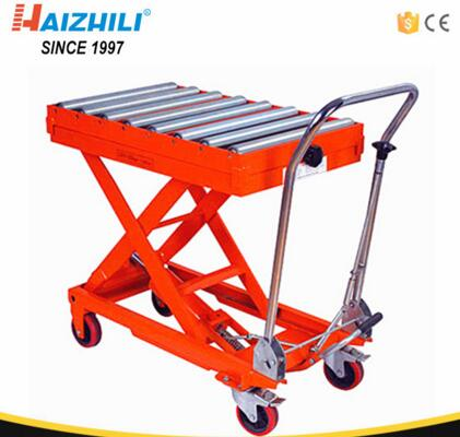 350kg 1300mm Hydraulic Manual Roller Top Scissor Lift Table