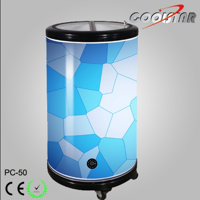 Top Galss Lid Beverage Can Cooler Barrel Type Cooler