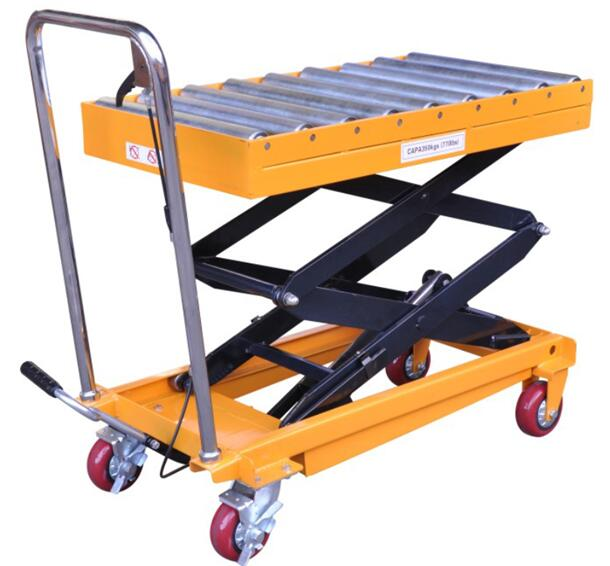 The roller type of load portable folding hydraulic lift table equipment