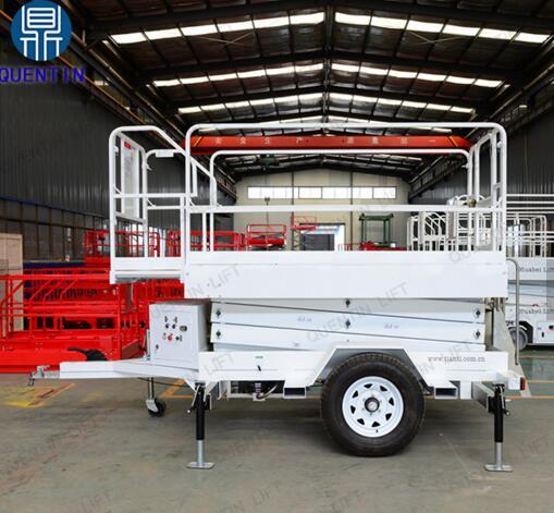 Outdoor aerial working truck trailed work platform trailed scissor lift