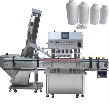 automatic small plastic bottles capping machine with cap feeding machine