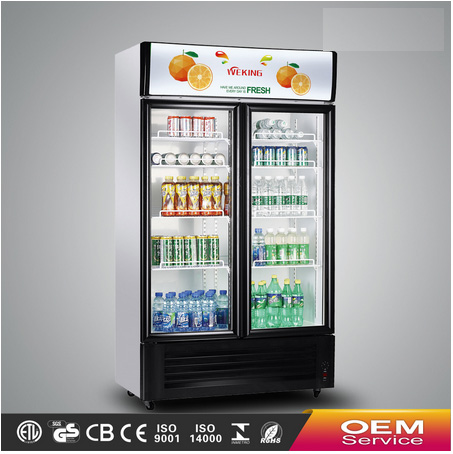 Commercial showcase double doors glass display showcase refrigerator supermarket equipment